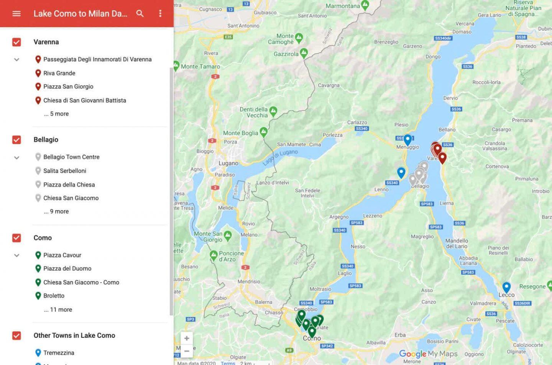 Day Trip Milan to Lake Como Map