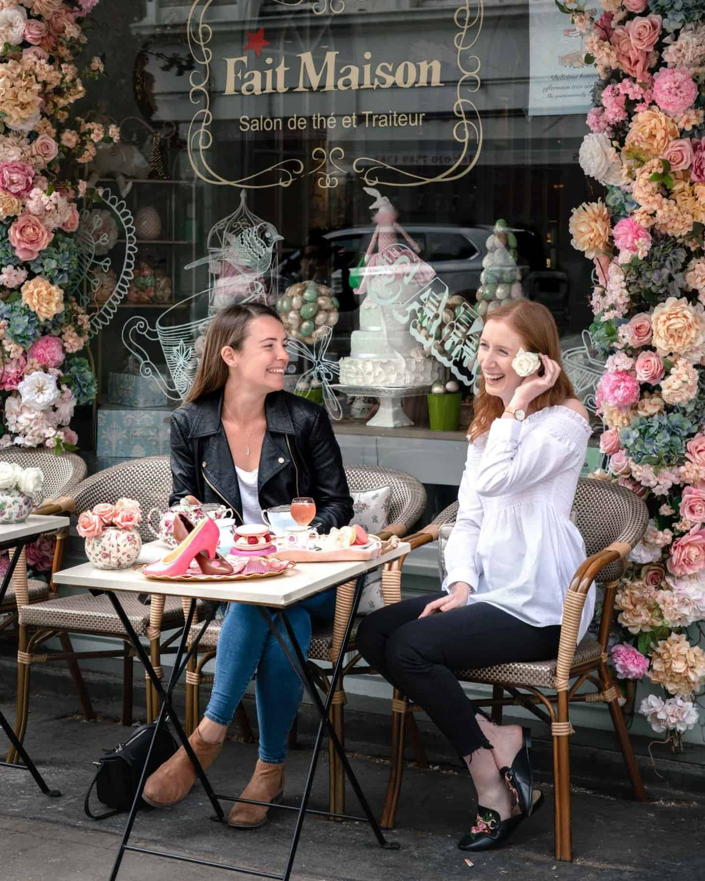 Two girls enjoying and Instagrammable afternoon tea at Fait Maison Gloucester Road London