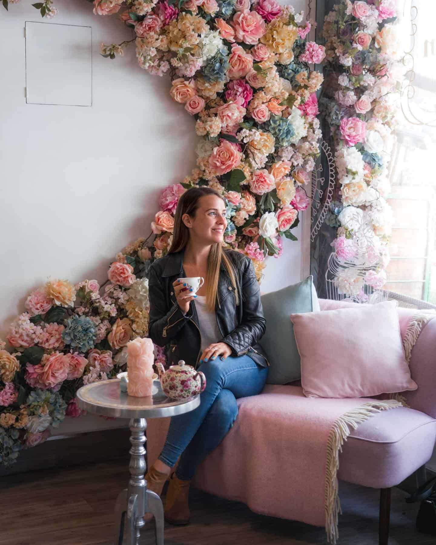 An instagrammable Interior floral display at Fait Maison Gloucester Road London