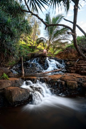Tropical waterfall photography from Queens Bath Kauai.