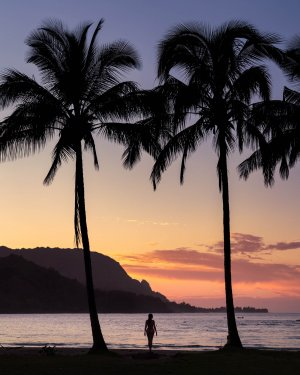 Hanalei Beach at sunset is among the best Kauai photography locations.