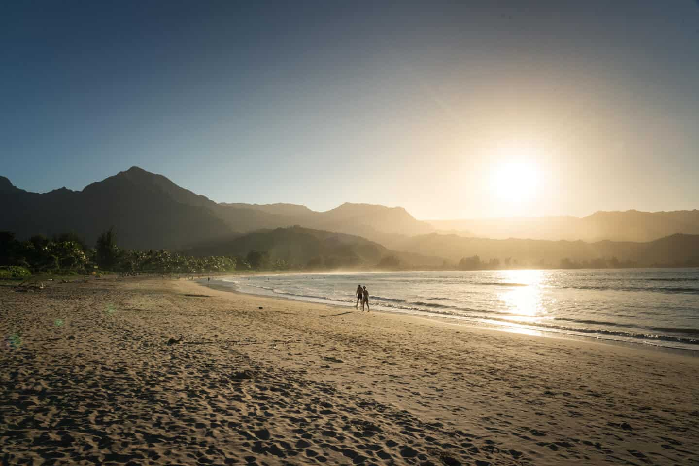 Hanalei Beach is the most fabled location for enjoying a Kauai sunset.