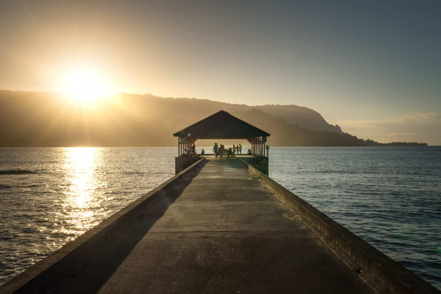 Sunset photography from Hanalei Pier in Kauai.