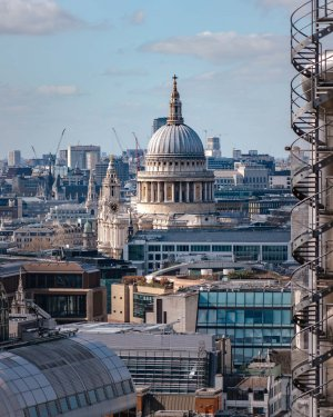 St Pauls Cathedral as seen from the Garden at 120, framed by a spiral staircase