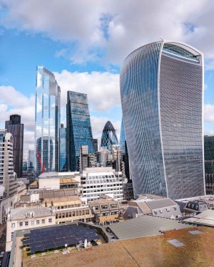 View of the Walkie Talkie building and Gherkin from Monument London