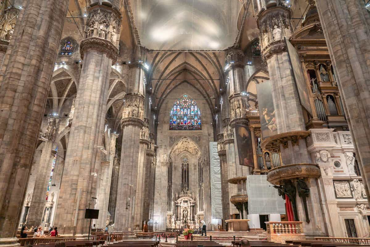 The stunning interior of Milan cathedral should be seen during 2 days in Milan