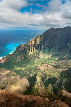 A short hike along the Kalepa Ridge Trail reveals the cliffs of the Na Pali coast.