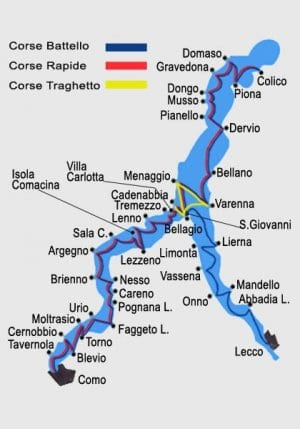 An image of the boat routes on Lake Como.