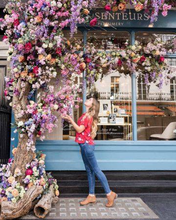 Seasonal display outside Les Senteurs Perfumery London