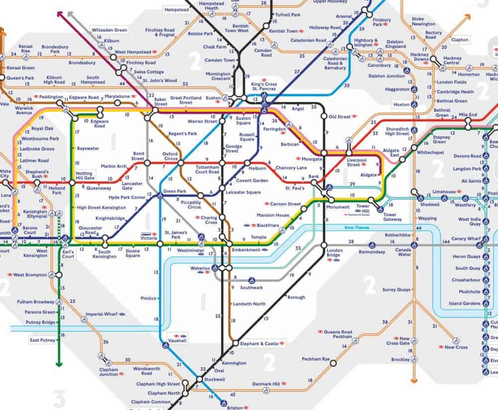 Map of the London Underground showing walking times between stations.  Walking is the most effective way to explore London in 2 days.