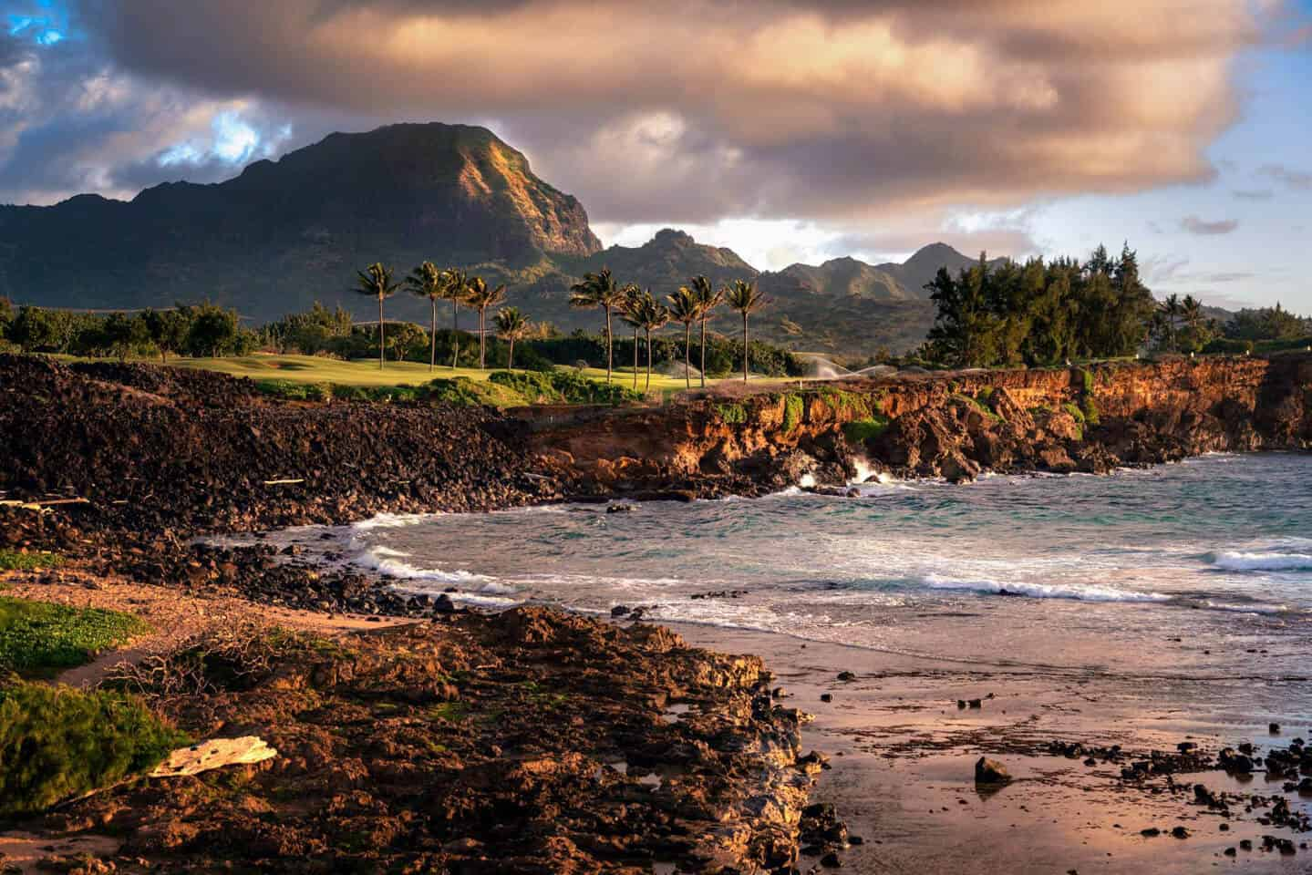 On the third day of our one week itinerary for Kauai, visit Makawehi Bluff for sunrise.
