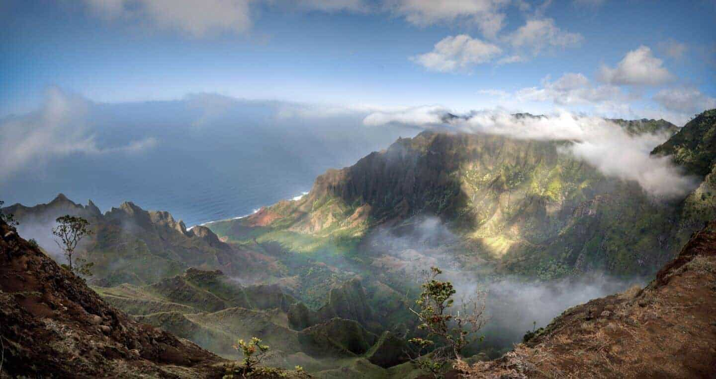 Be prepared for rapidly changing clouds in the Kalalau Valley.