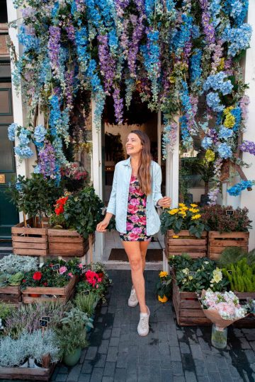 Vibrant colorful flowers adorn the outside of Moyses Stevens Flowers making it the perfect instagrammable spot in London
