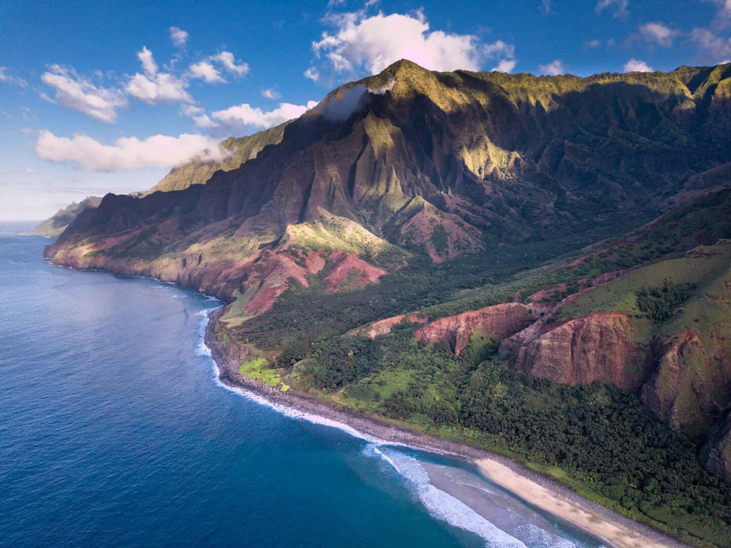 Na Pali Coast as seen from the sky.