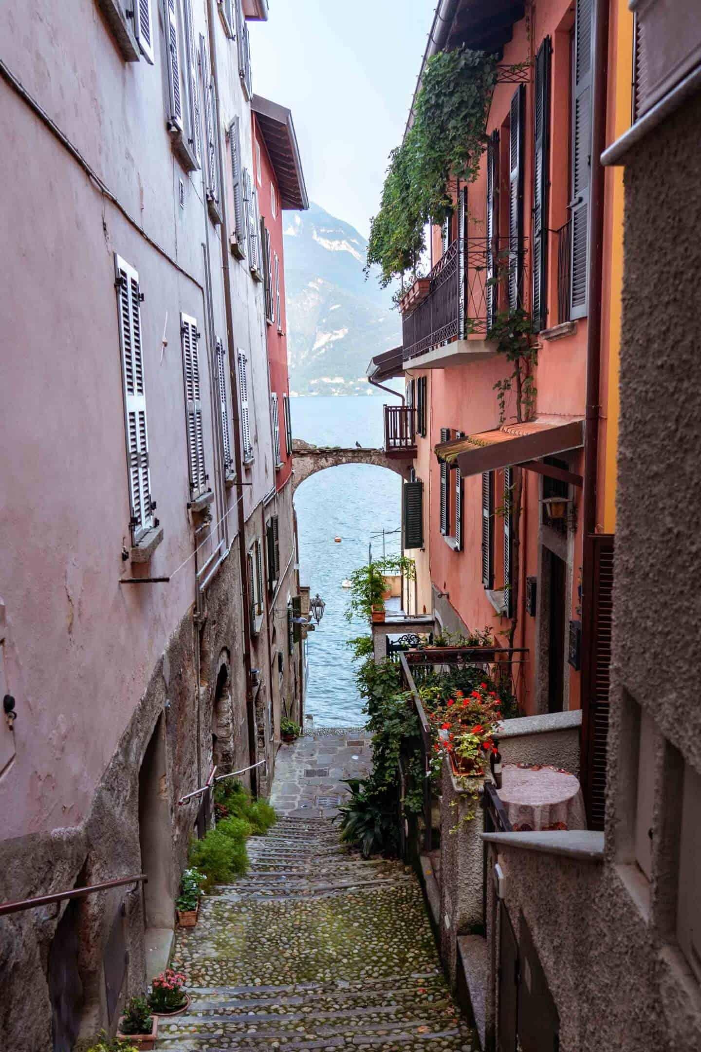 The steep narrow streets of Varenna, Lake Como