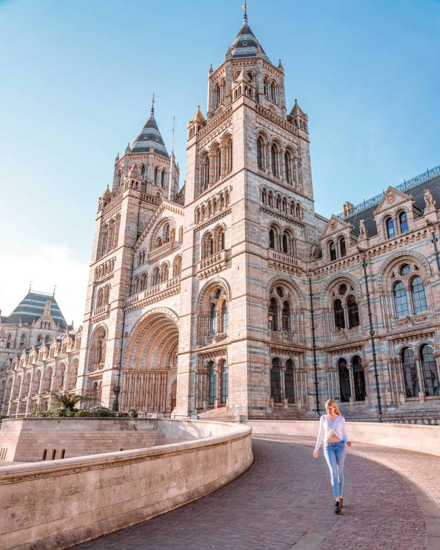 The exterior of the Natural history museum - one of the most instagrammable places in London
