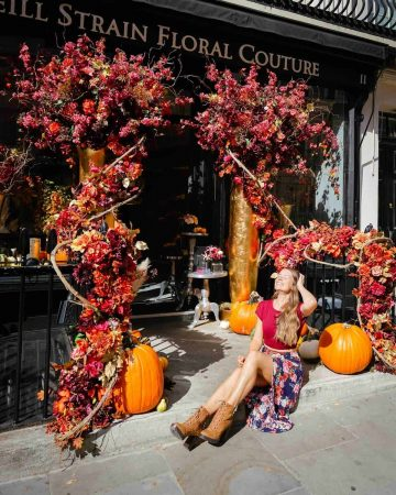 Seasonal autumn floral display outside Neill Strain Floral Couture London