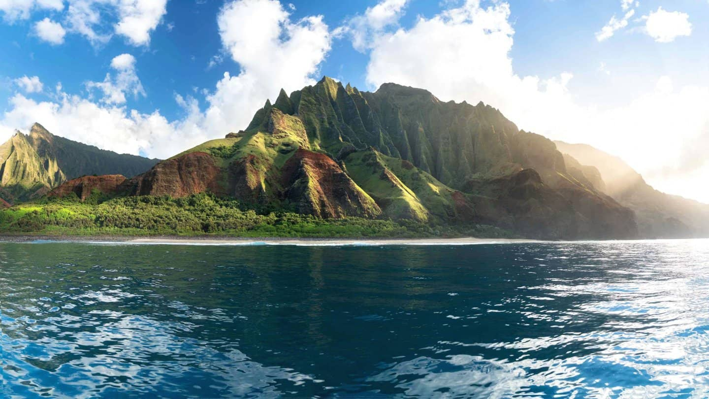 A golden hour pano of the incredible Na Pali Coast.