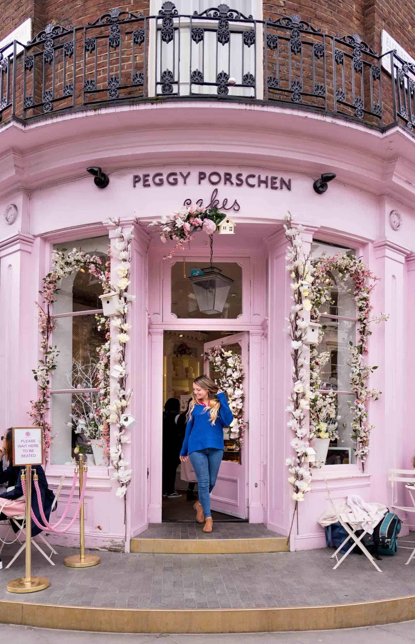 Exterior instagrammable flower display at Peggy Porschen Belgravia London