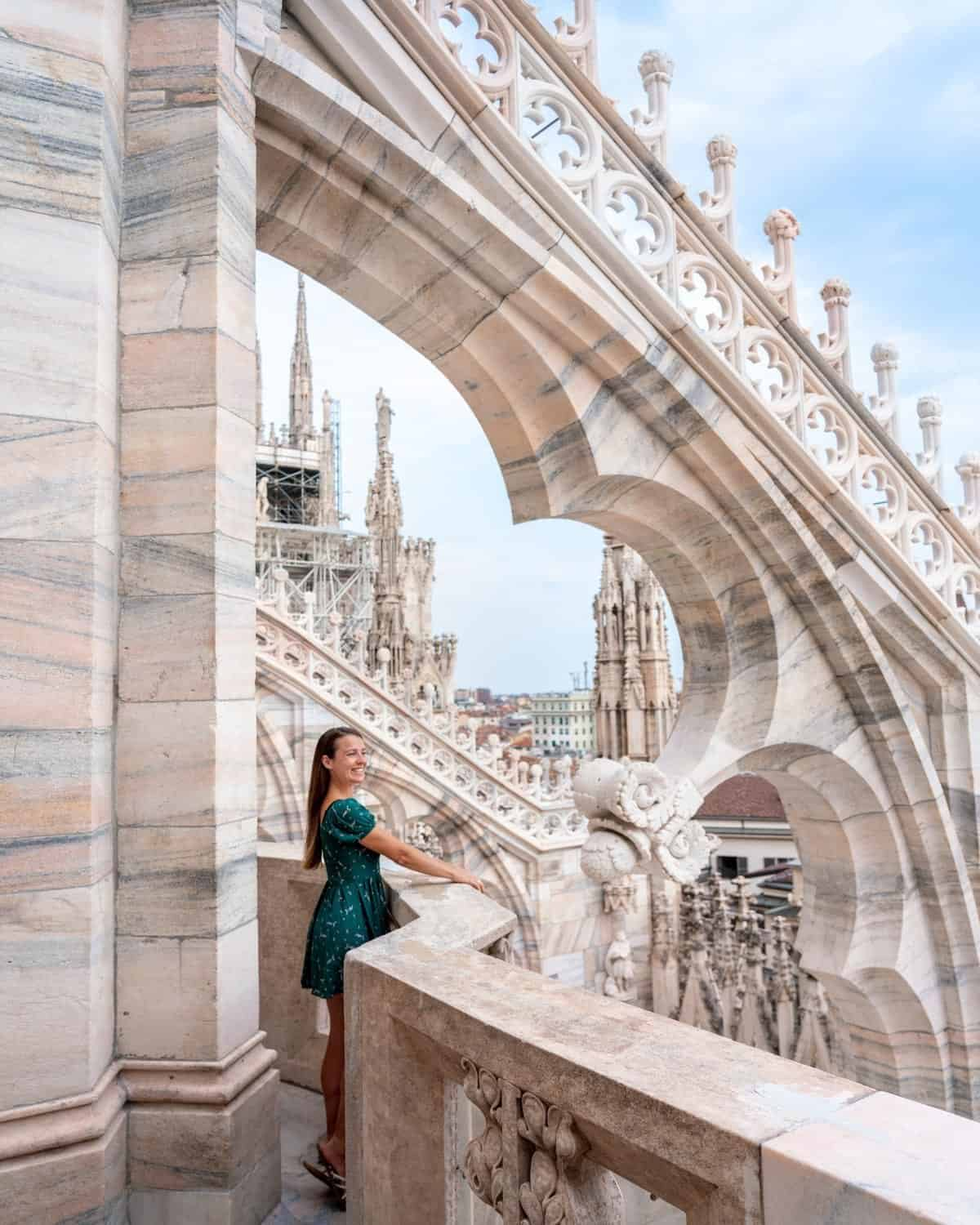 Admire the intricate details of the rooftop of Duomo di Milano during 2 days in Milan