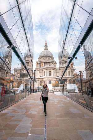 St Pauls cathedral framed by the reflective glass of One New Change, one of the best hidden gems in London