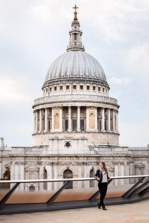 The famous London landmark, St Paul's Cathedral as seen from the top of One New Change.
