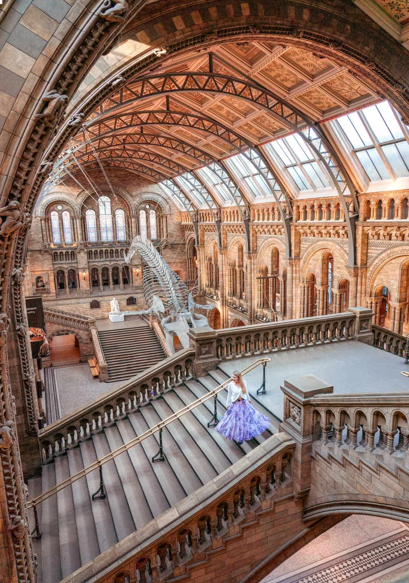 The inside of the impressive London landmark, the Natural History Museum showing the entrance hall and whale skeleton.