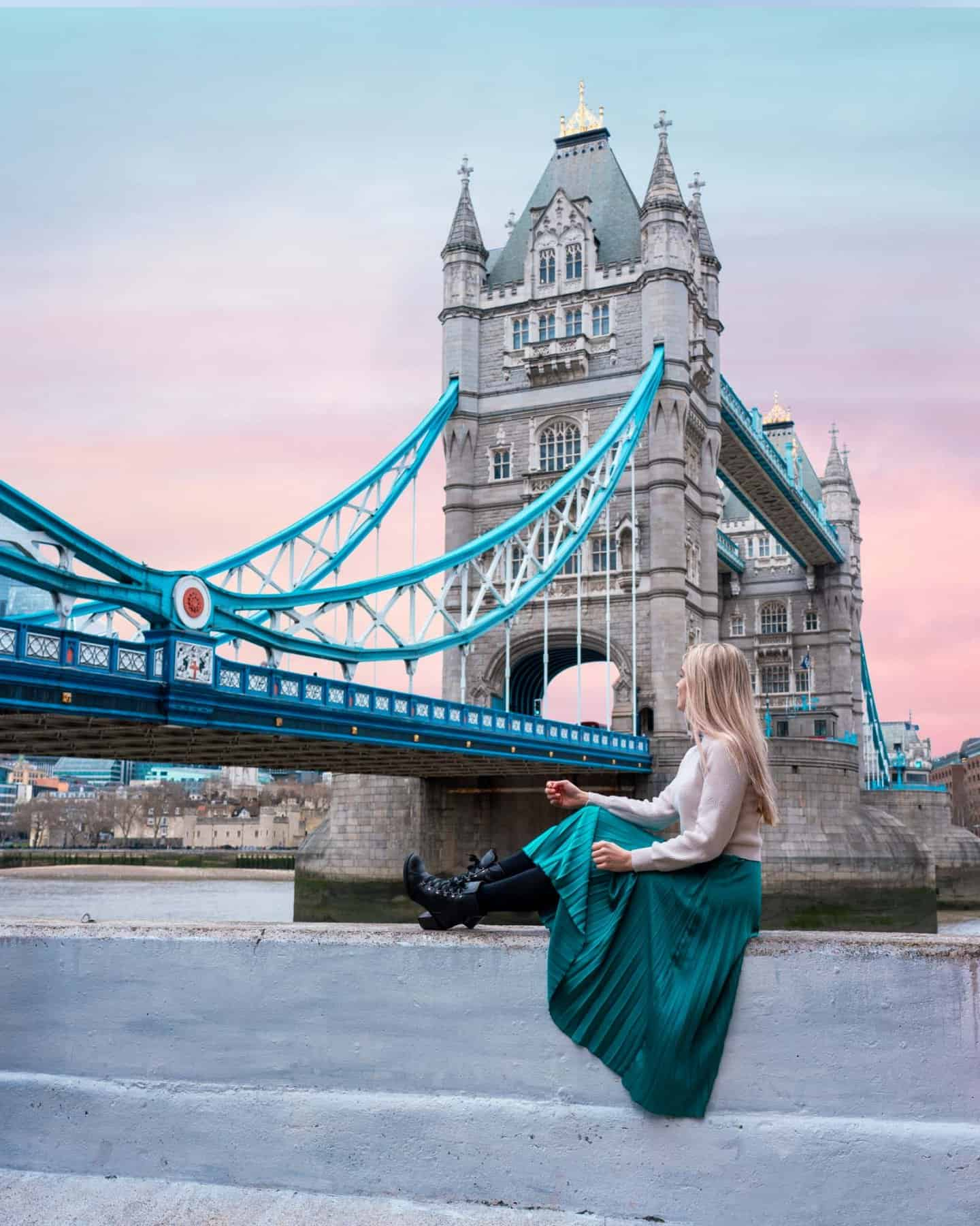 Sunset colours alight the sky behind Tower Bridge to create the perfect Instagrammable photo in London