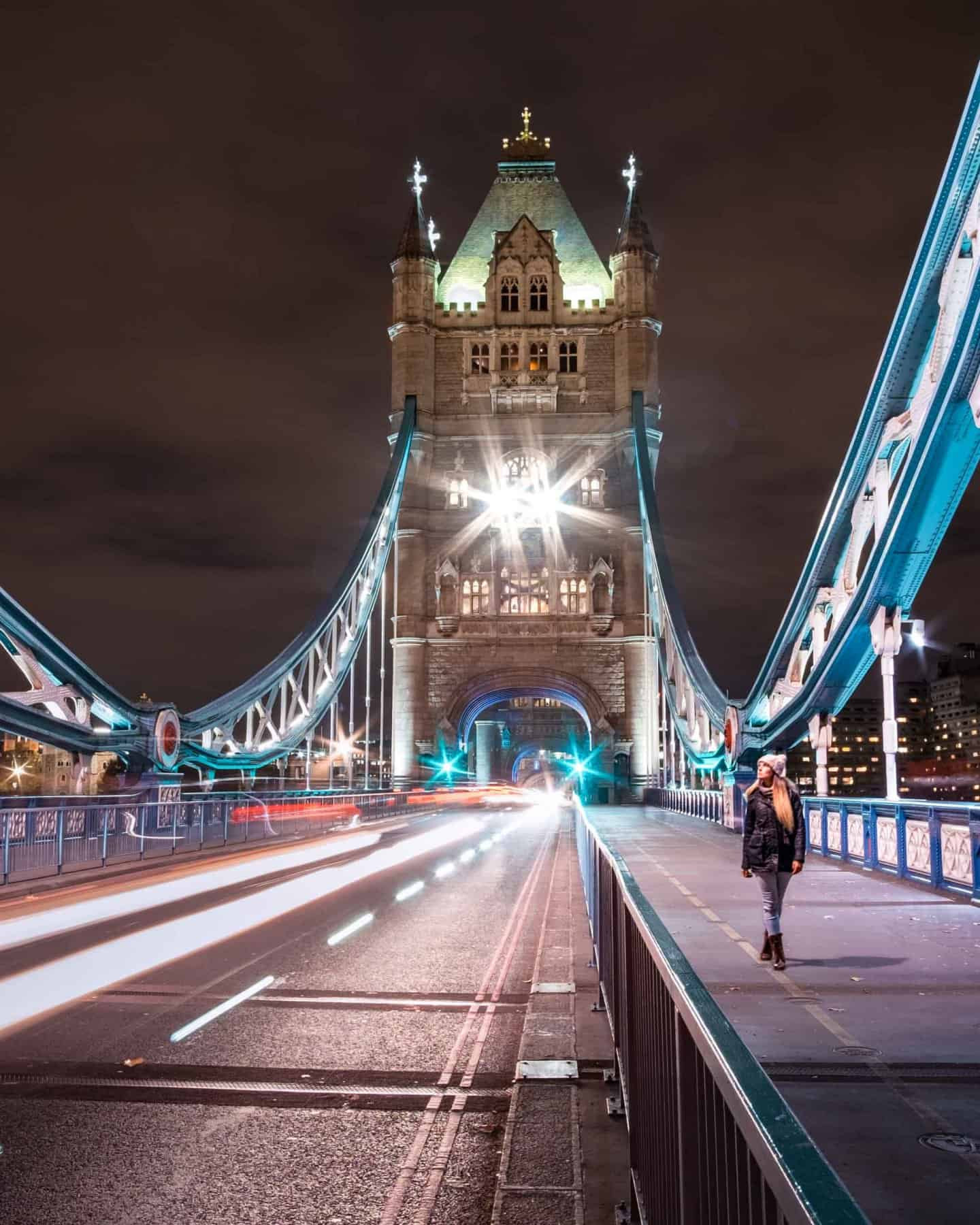 A long exposure photo of Tower Bridge at night