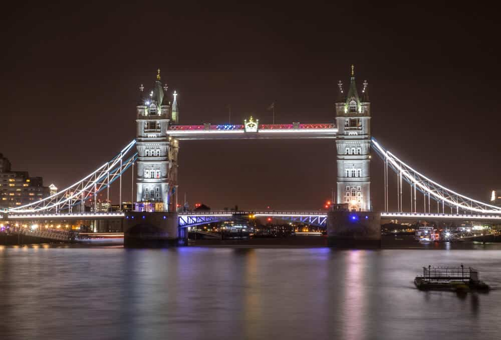 Tower Bridge at night is a must-see during a trip to London in 2 days