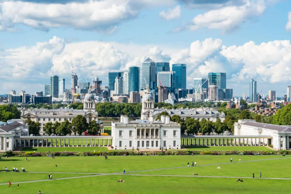 View from Greenwich Park over the city of London