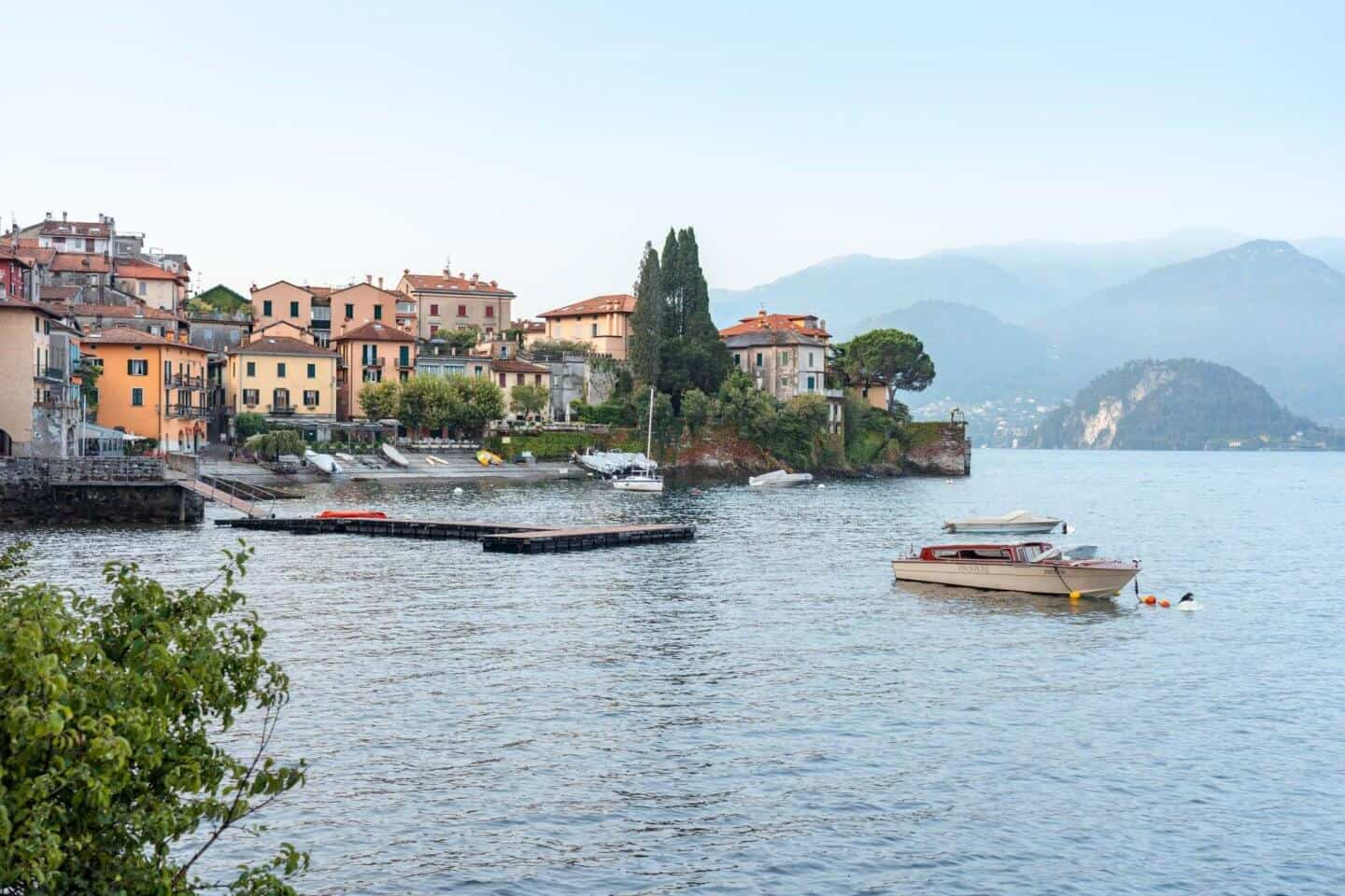 View from passeggiata degli Innamorati (lovers walk) in Varenna, Lake Como - the first sight on a day trip to Lake Como from Milan