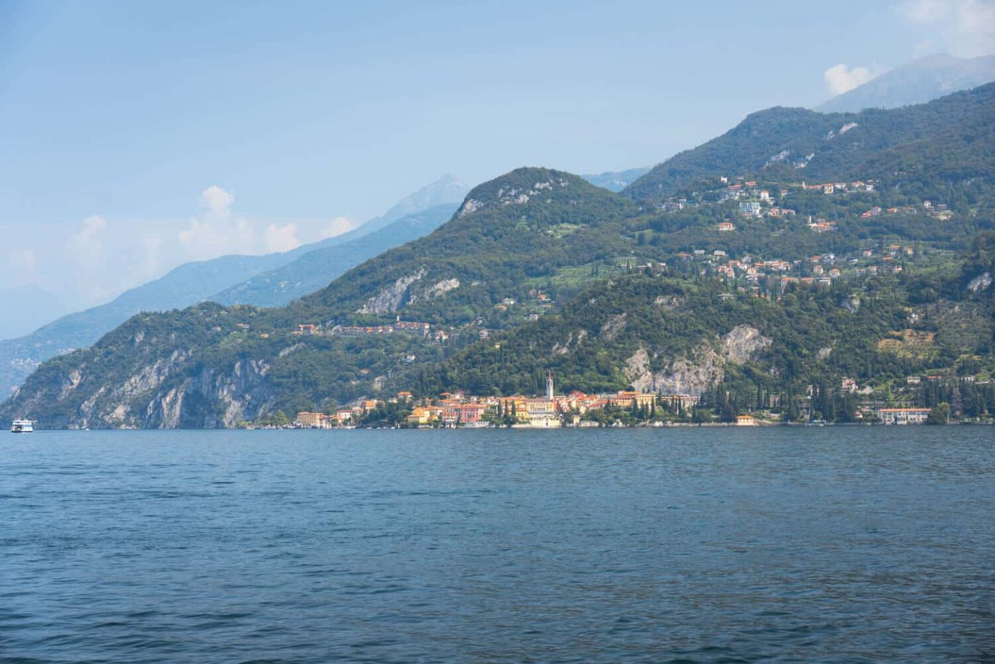 View of Varenna from Punta Spartivento Bellagio. Lake Como day trip from Milan.