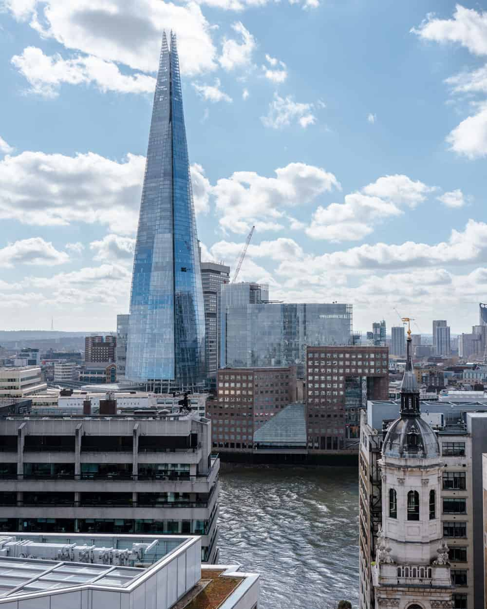 The Shard is London's tallest skyscraper and a prominent landmark on the city's skyline.