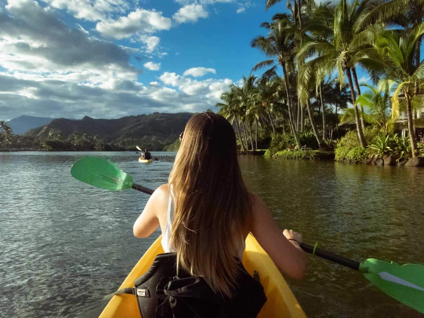 Paddling up the Wailua River in the late afternoon.