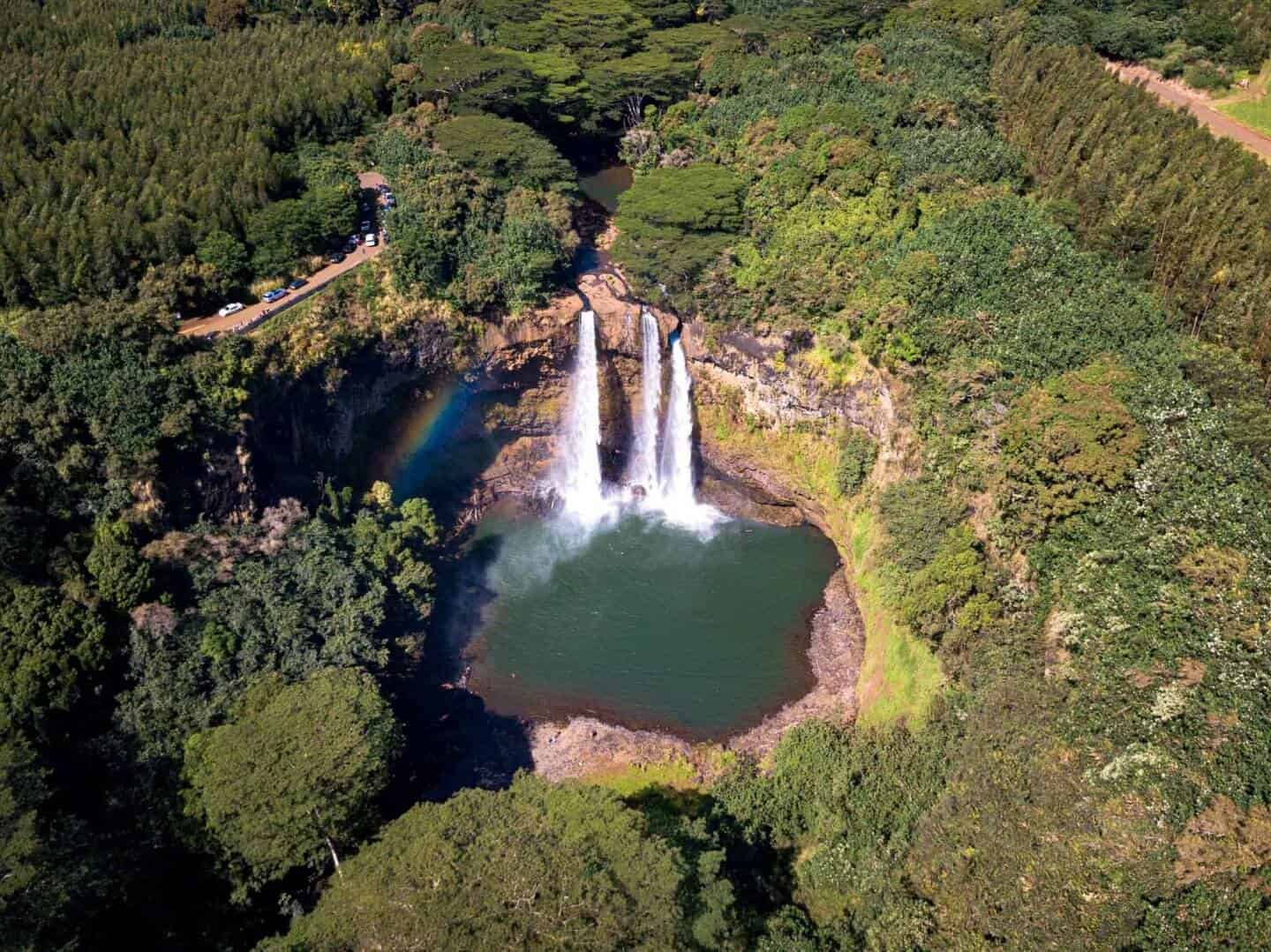 A hole in the jungle reveals the beautiful Wailua Falls.