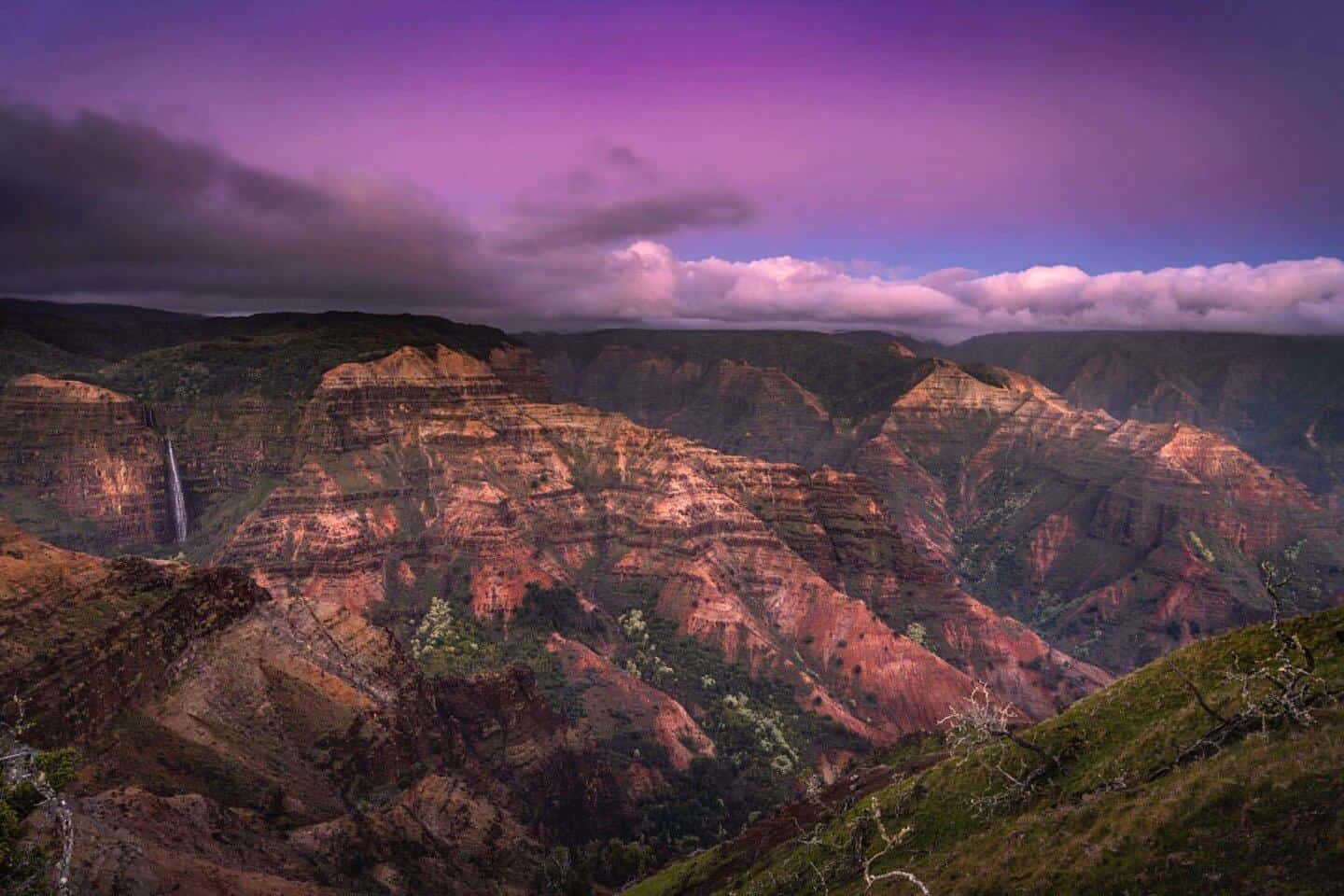 Blue hour photography of the Waimea Canyon in Kauai.