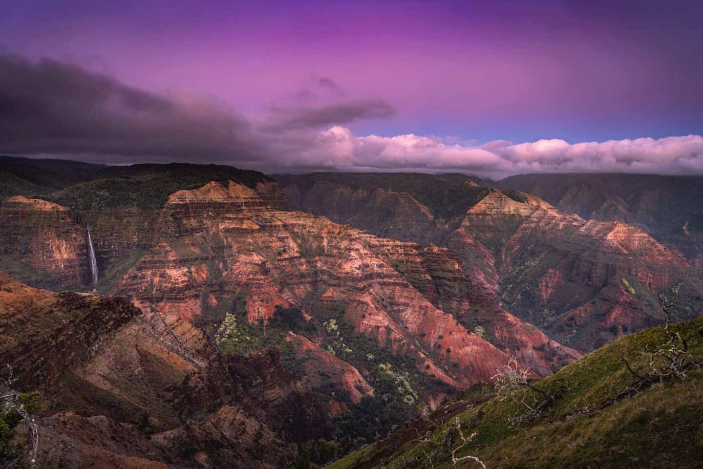 On day 2 of your itinerary for Kauai, visit the Waimea Canyon for sunset.