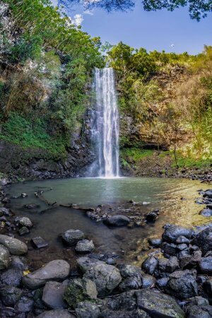 "The ""Secret"" Falls, Uluwehi Falls, deep in the Wailua Valley."