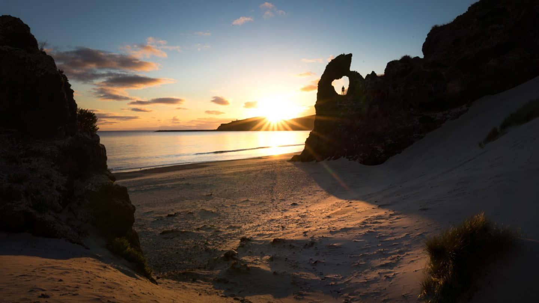 Aramoana Beach is the best landscape for sunrise photography near the Otago Bay.
