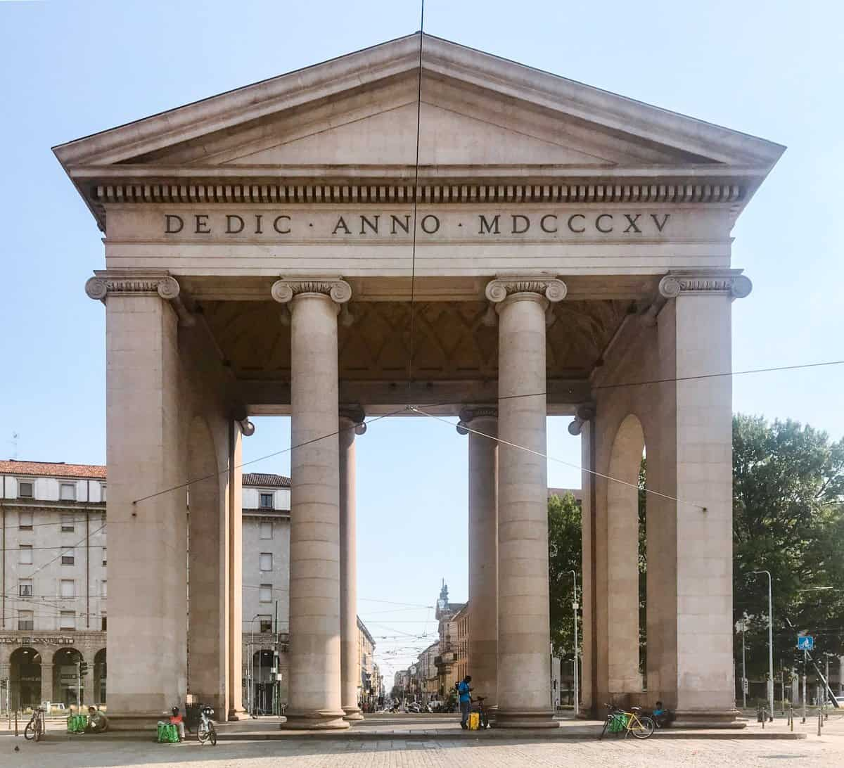 Arco di Porta Ticinese, one of three former city gates of Milan.  Definitely worth adding to your 2 days in Milan itinerary.