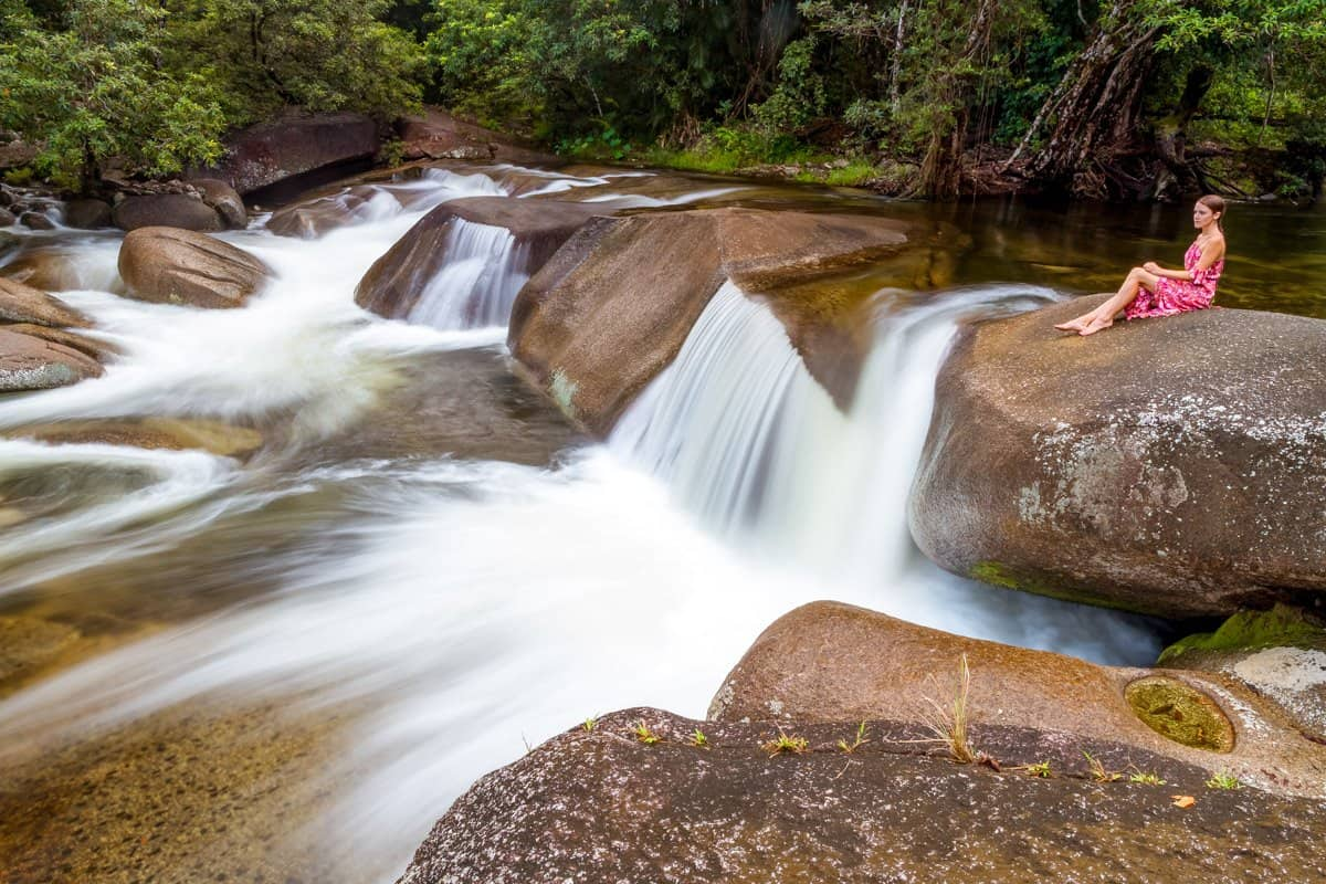 Cascading water through Babinda creek creates many small tumbles.
