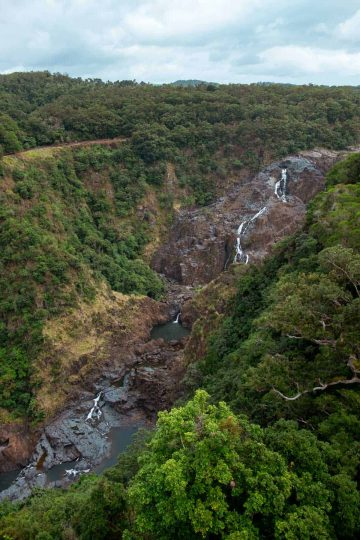 An aerial view of Barron Falls seen from the Skyrail Rainforest Cableway, Kuranda, Queensland, Australia.
