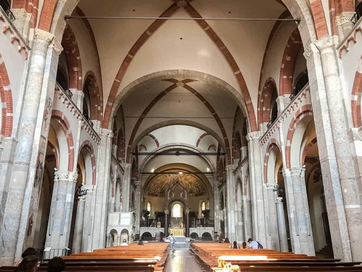 The interior of Basilica San Lorenzo Maggiore, Milan, Italy