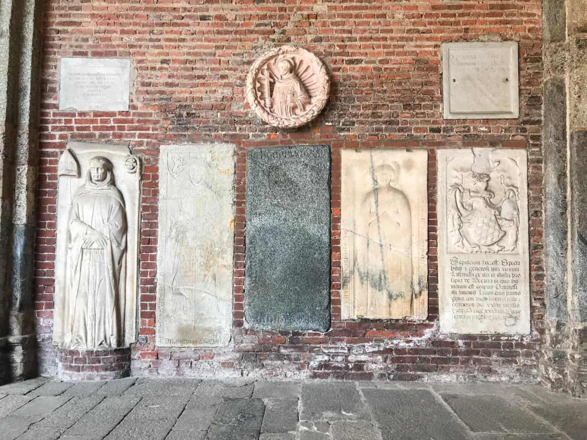 Details on the wall of Basilica San Lorenzo Maggiore, Milan Italy