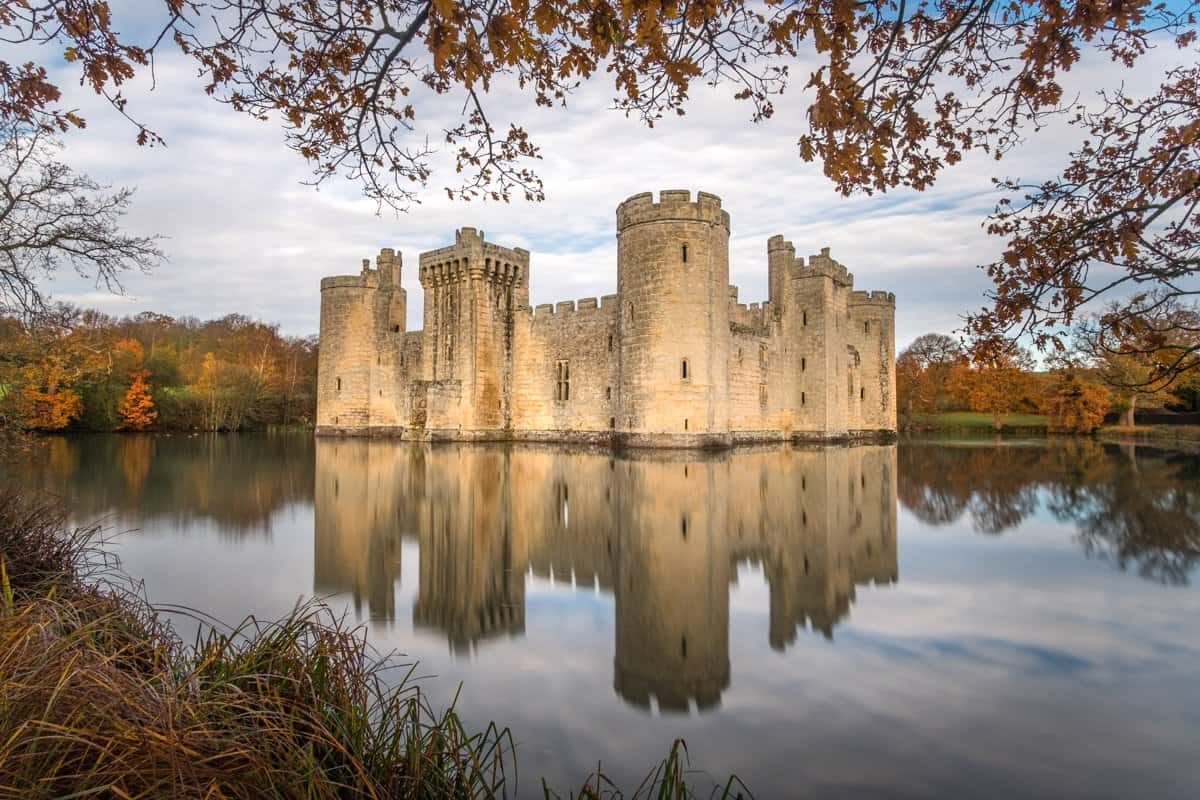 Bodiam Castle and its reflection in the moat surrounding it near Robertsbridge in East Sussex