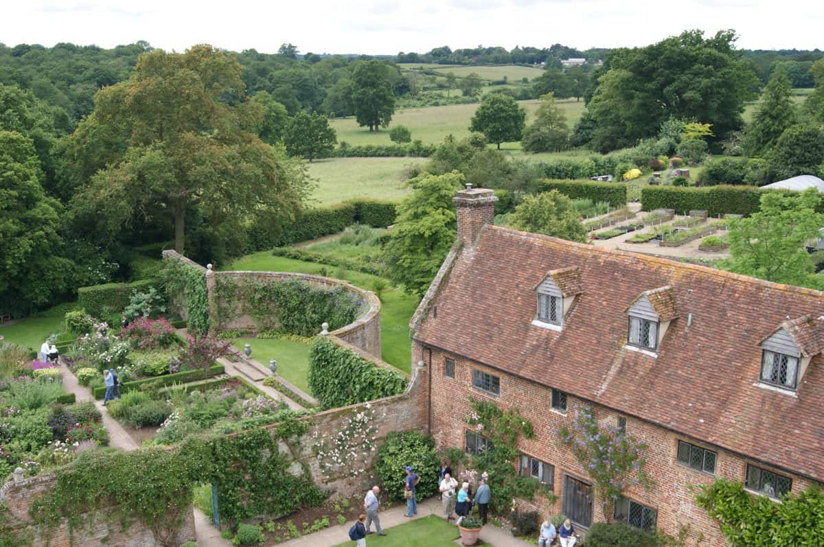View of the gardens and courtyard from the top floor of Sissinghurst Castle near London.