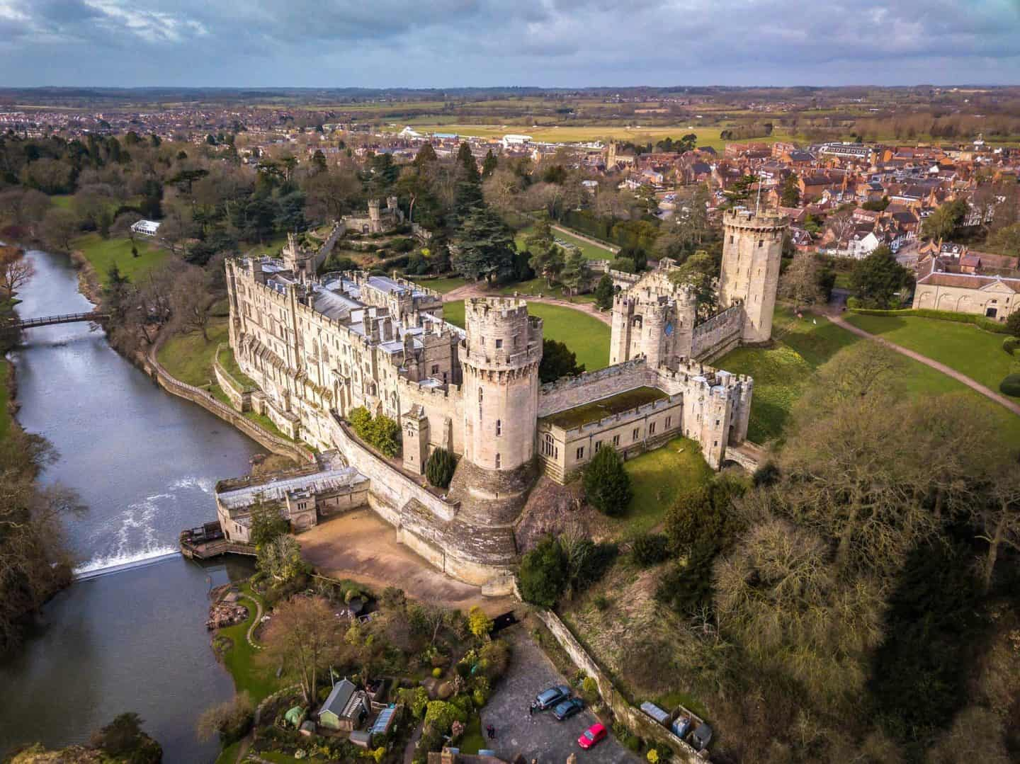 Aerial view of Warwick Castle, one of the best castles near London