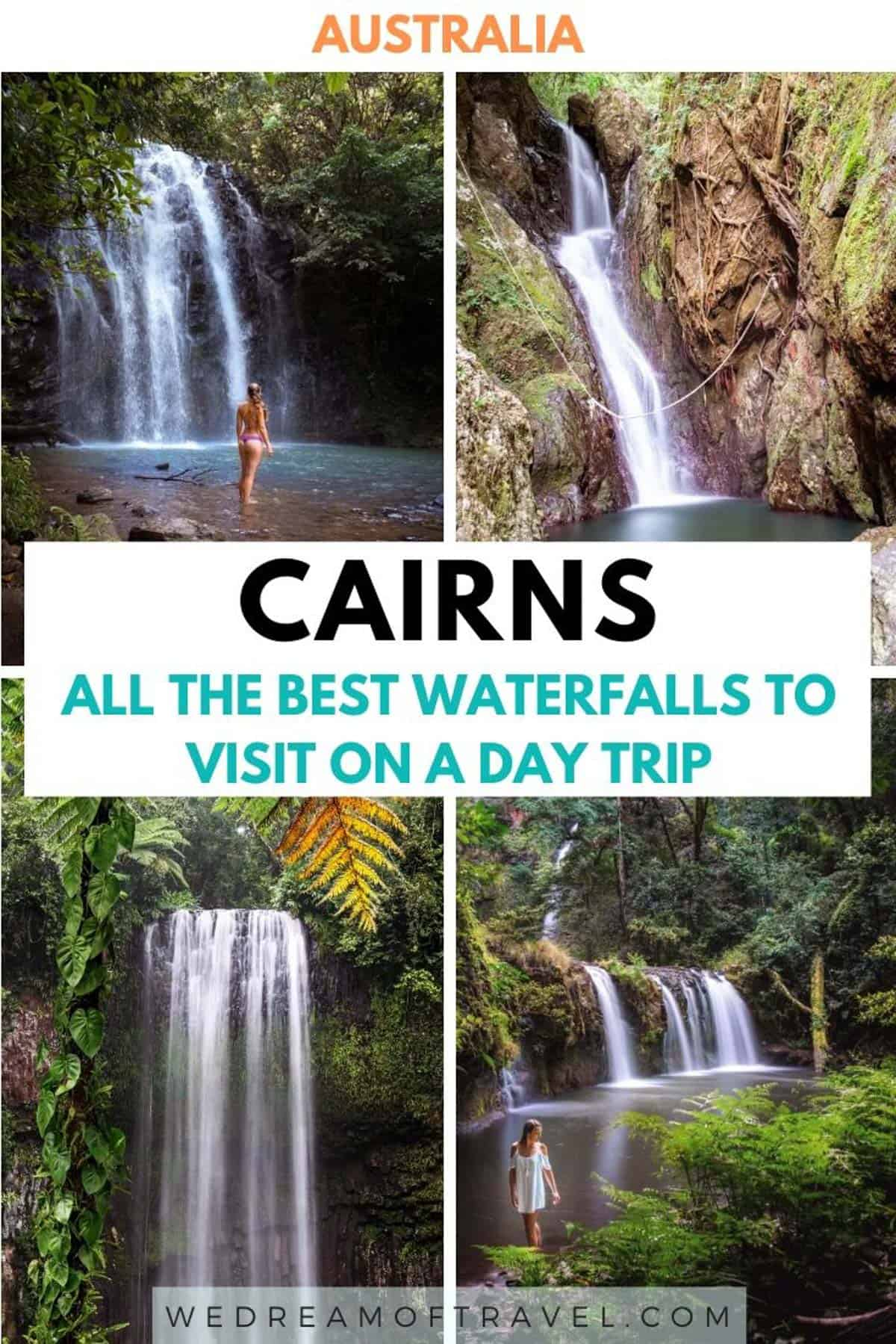 Cairns and Tropical North Queensland are home to some of the most beautiful waterfalls in Australia.  Visiting these falls is one of the best things to do in Cairns.  This guide will help you discover all the best waterfalls near Cairns for an epic day trip.  With photography of each to inspire you and a map to help you plan! #cairns #australia #waterfalls