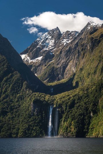 Bowen Falls spilling into the Milford Sound is a popular composition for New Zealand landscape photography.